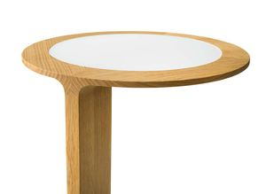 Designer-loup side tables with glass or leather
