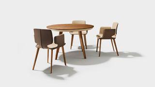 Table ronde flaye en bois naturel
