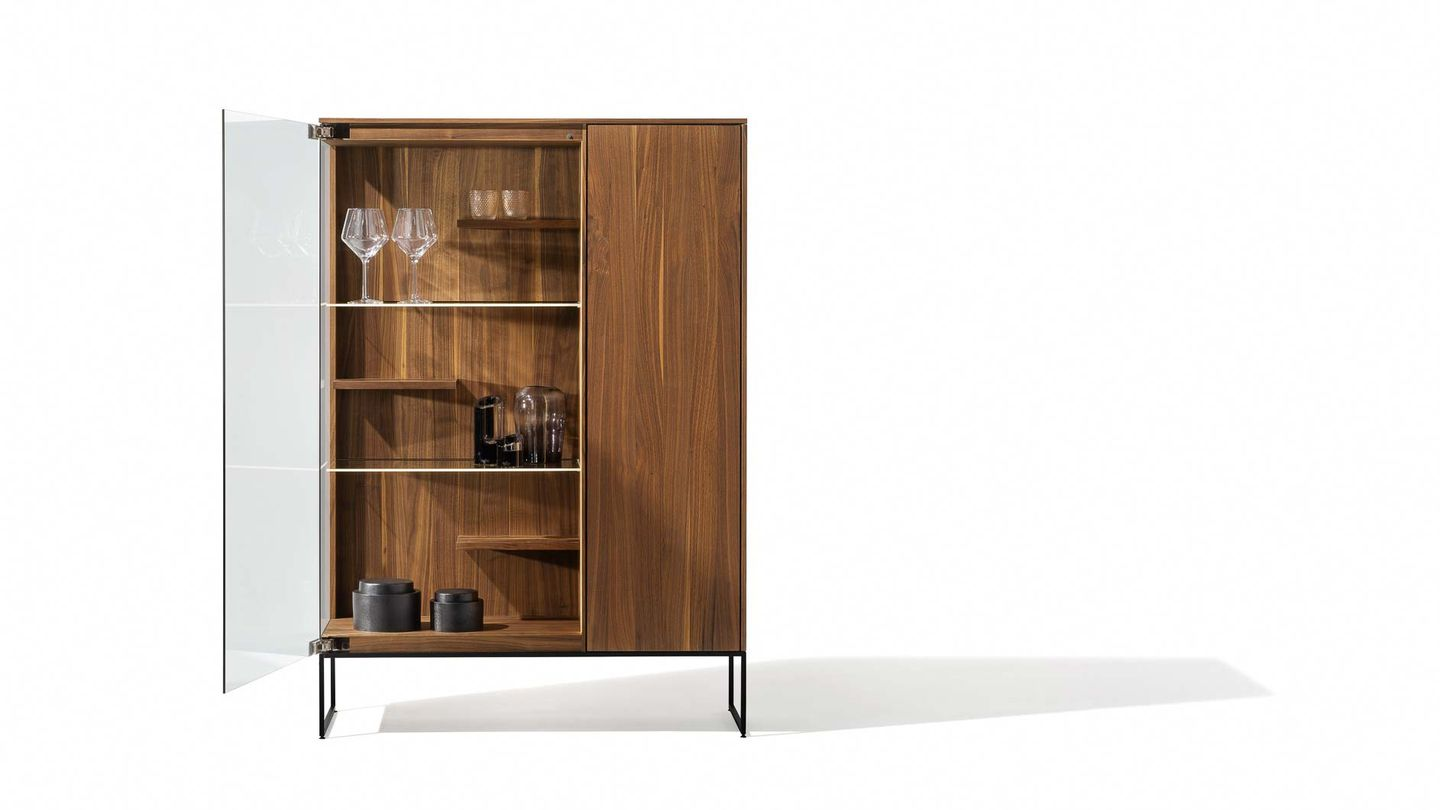 filigno glass cabinet with lighting in walnut by TEAM 7