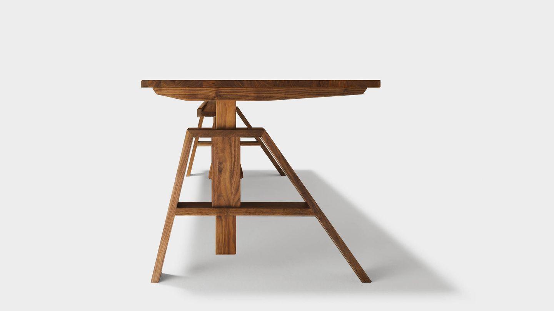 Bureau atelier ajustable en hauteur en bois naturel
