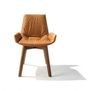 Scocca della sedia lui plus di TEAM 7 in pelle color seppia