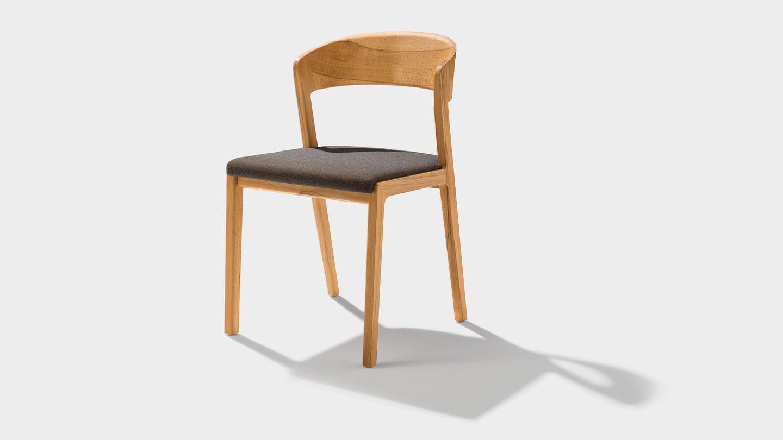 Stuhl mylon mit Stoff-Sitzfläche in Kernbuche
