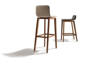 ark bar chair with wooden legs in leather or fabric