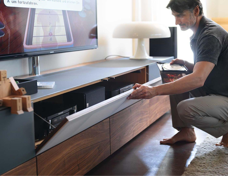 Mobili per l'home entertainment cubus pure con ribalta in tessuto