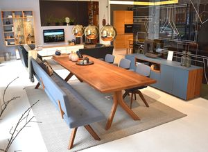 yps table in walnut made of solid wood at TEAM 7 store Vienna