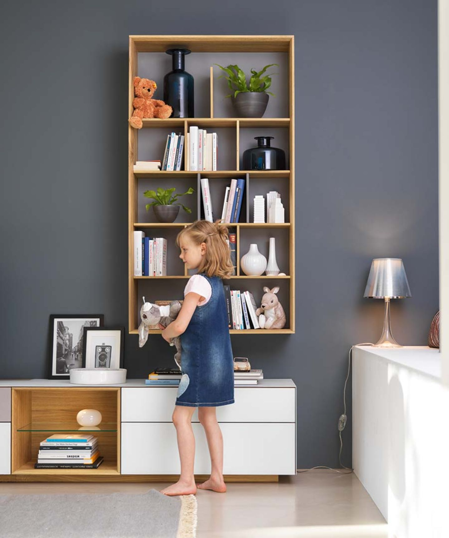 cubus pure wall unit in solid wood with design elements