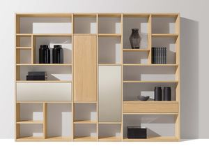 cubus shelf with diverse planning options in oak white oil