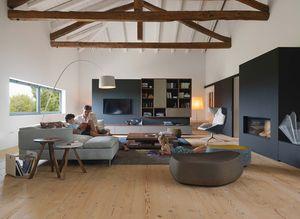 Wohnzimmer Wohnwand cubus aus Naturholz mit Farbglas