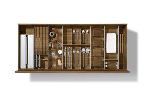 Accessori interni per cassetti cucina in legno massello di noce