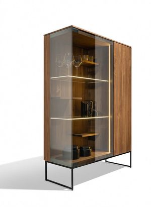 side view of the filigno glass cabinet in walnut