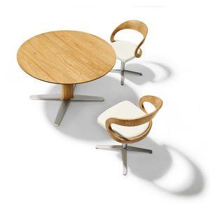 Sedie girevoli girado con base a croce e tavolo allungabile girado in rovere