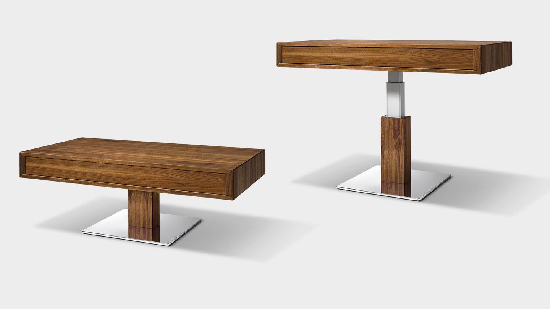 lift height-adjustable coffee table in walnut