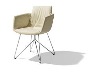 chaise grand lui en cuir blanc avec piétement en fil d'acier de finition inox