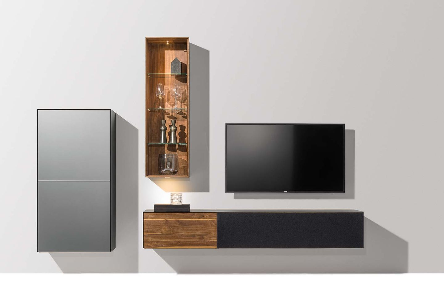 cubus pure wall unit in the wood type walnut