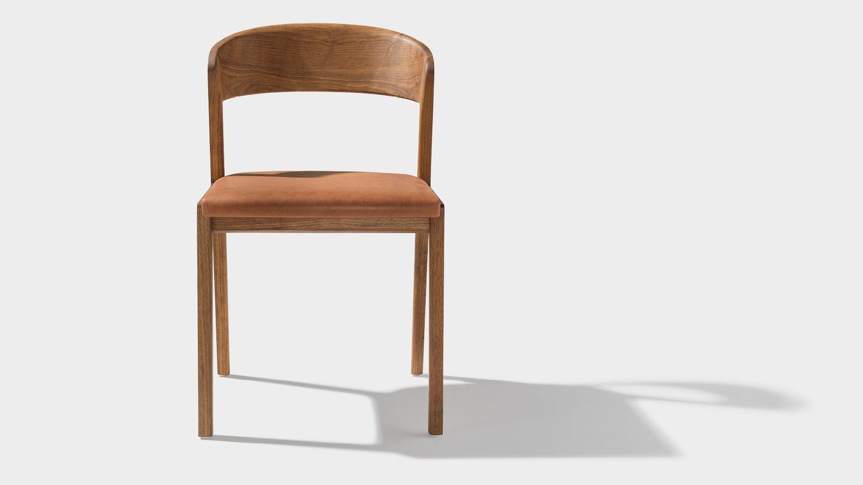 Stuhl mylon frontal mit Sitzfläche in Naturleder