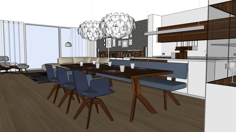 TEAM 7 Furnplan-Planungsbeispiel für den Essbereich mit dem yps Tisch und aye Stuhl