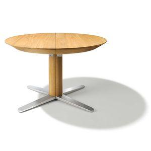 Tavolo allungabile tondo girado con base a croce in rovere