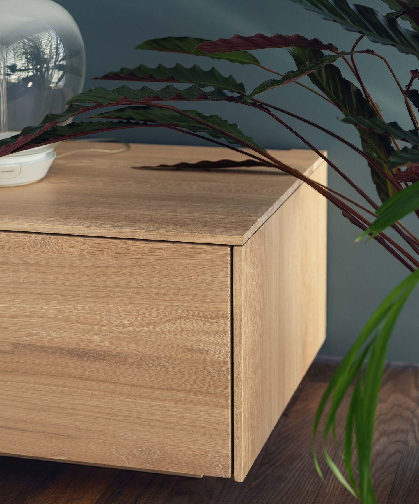 Гостиная filigno от TEAM 7 в белёном дубе, деталь крупным планом