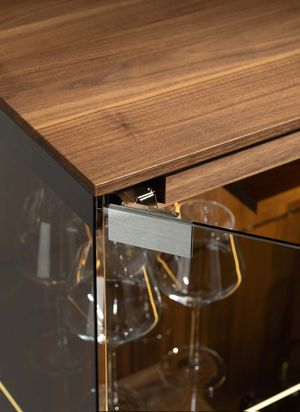 hidden hinges TEAM 7 filigno glass cabinet