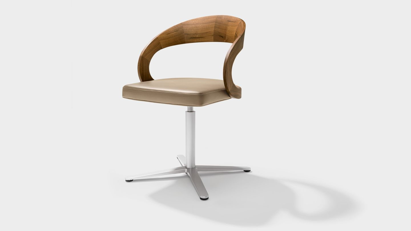 girado swivel chairs with backrest made of solid wood