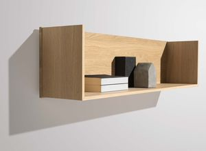 U-shelf as bookend made of resilient solid wood