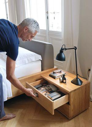 Meuble d'appoint nox en bois massif avec tiroir