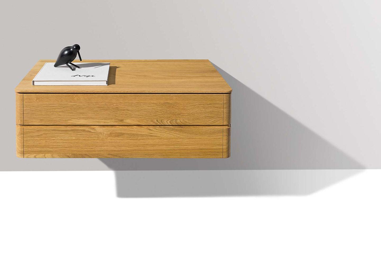 wall-mounted float bedside cabinet in oak