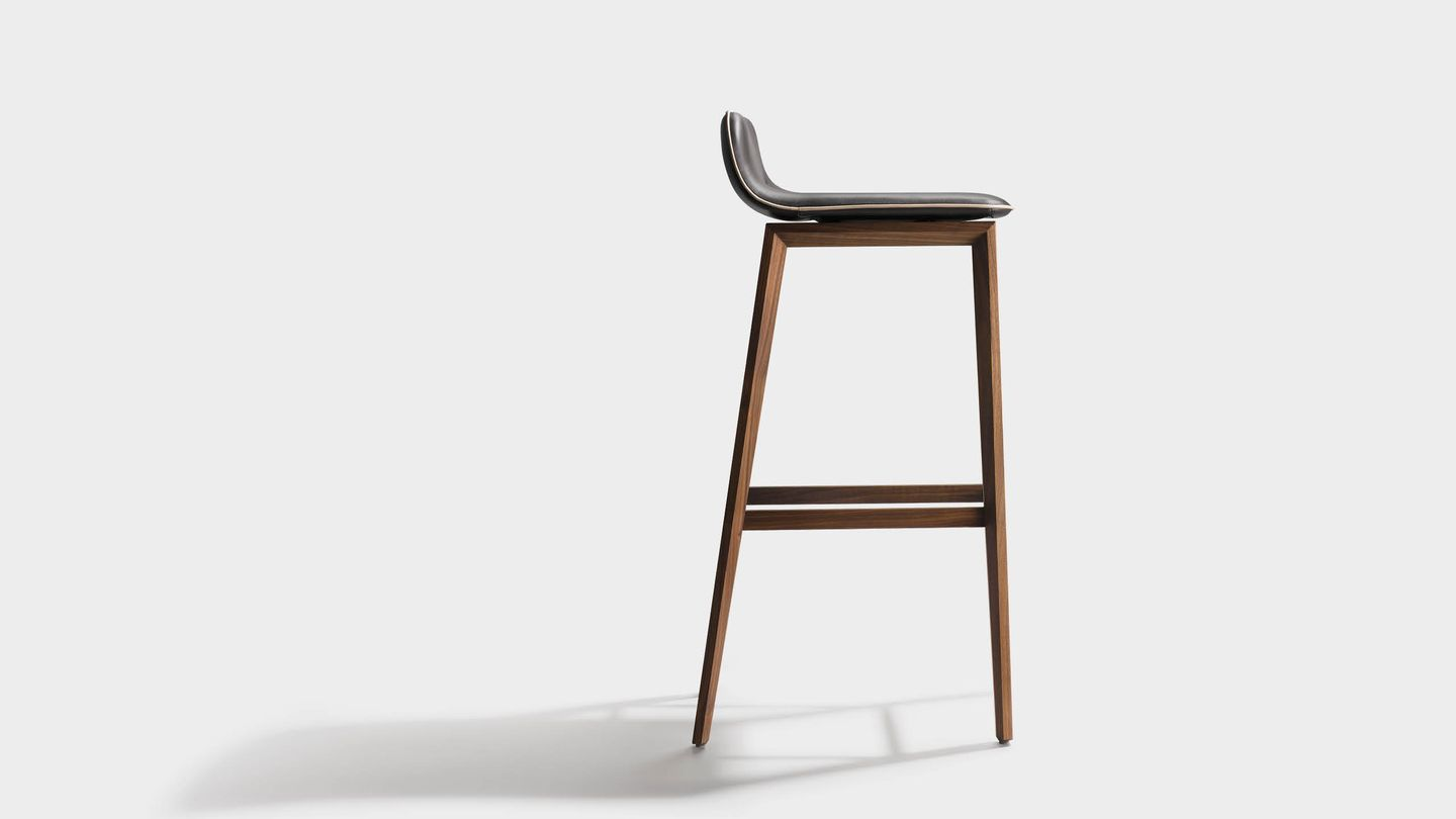 ark bar stool with wooden legs made of solid wood in walnut