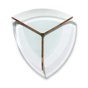 Table de salon juwel avec plateau en verre transparent