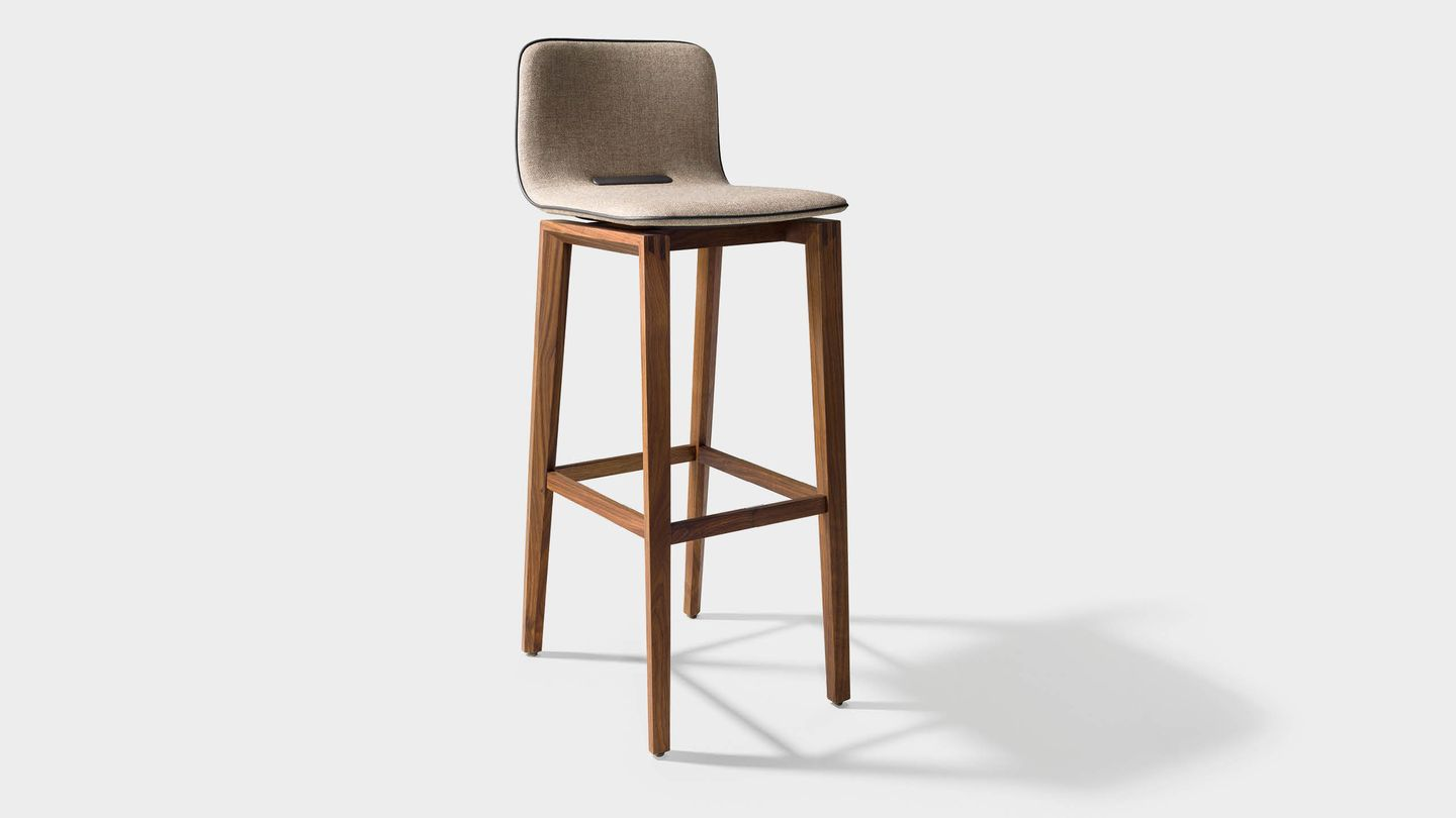 ark bar stool in fabric with wooden legs in walnut