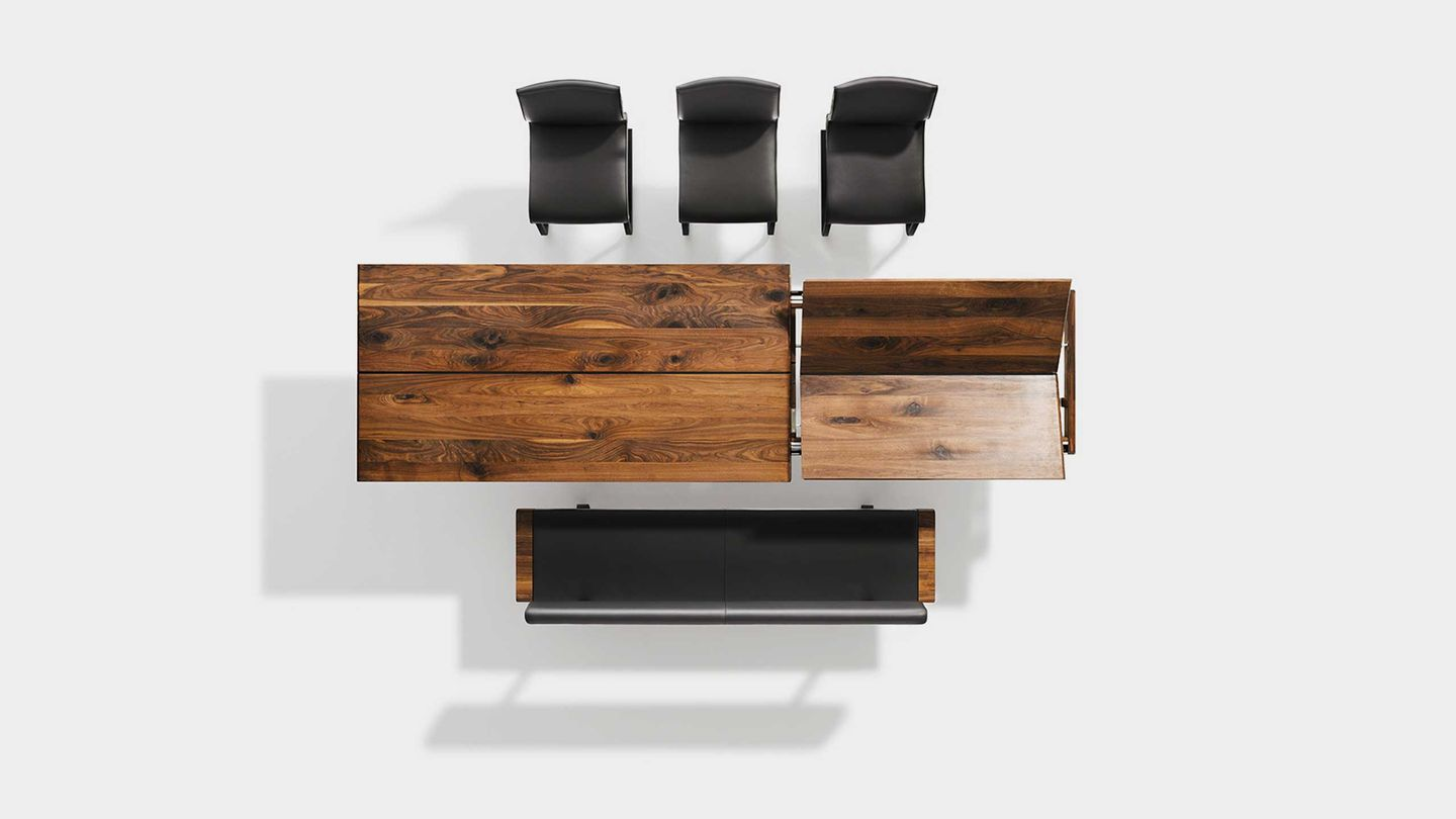 nox extendable table with nox bench and magnum cantilever chair in leather