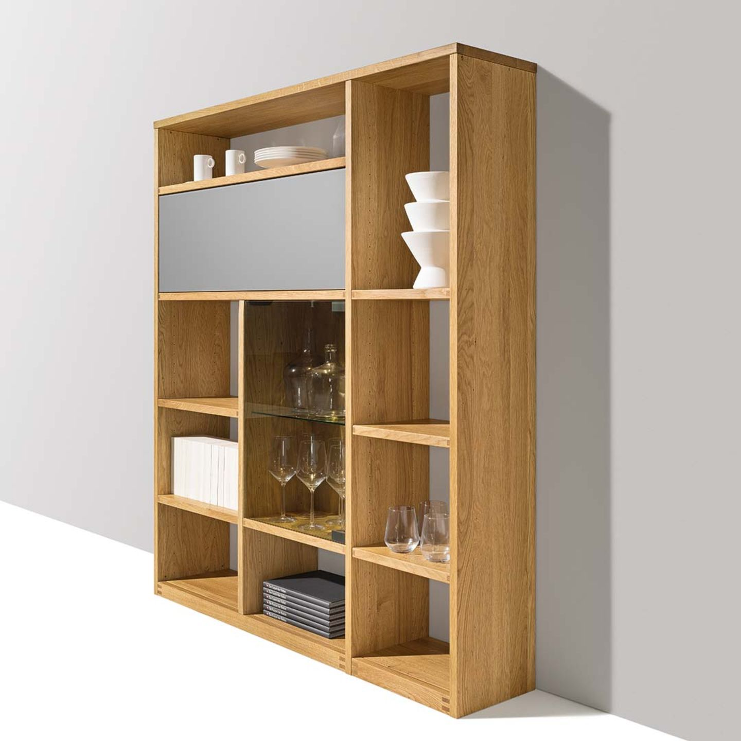 cubus highboard with medium grey glass made of solid wood by TEAM 7