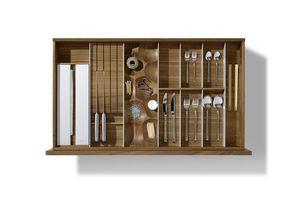Suddivisione interna per la cucina in legno massello di noce