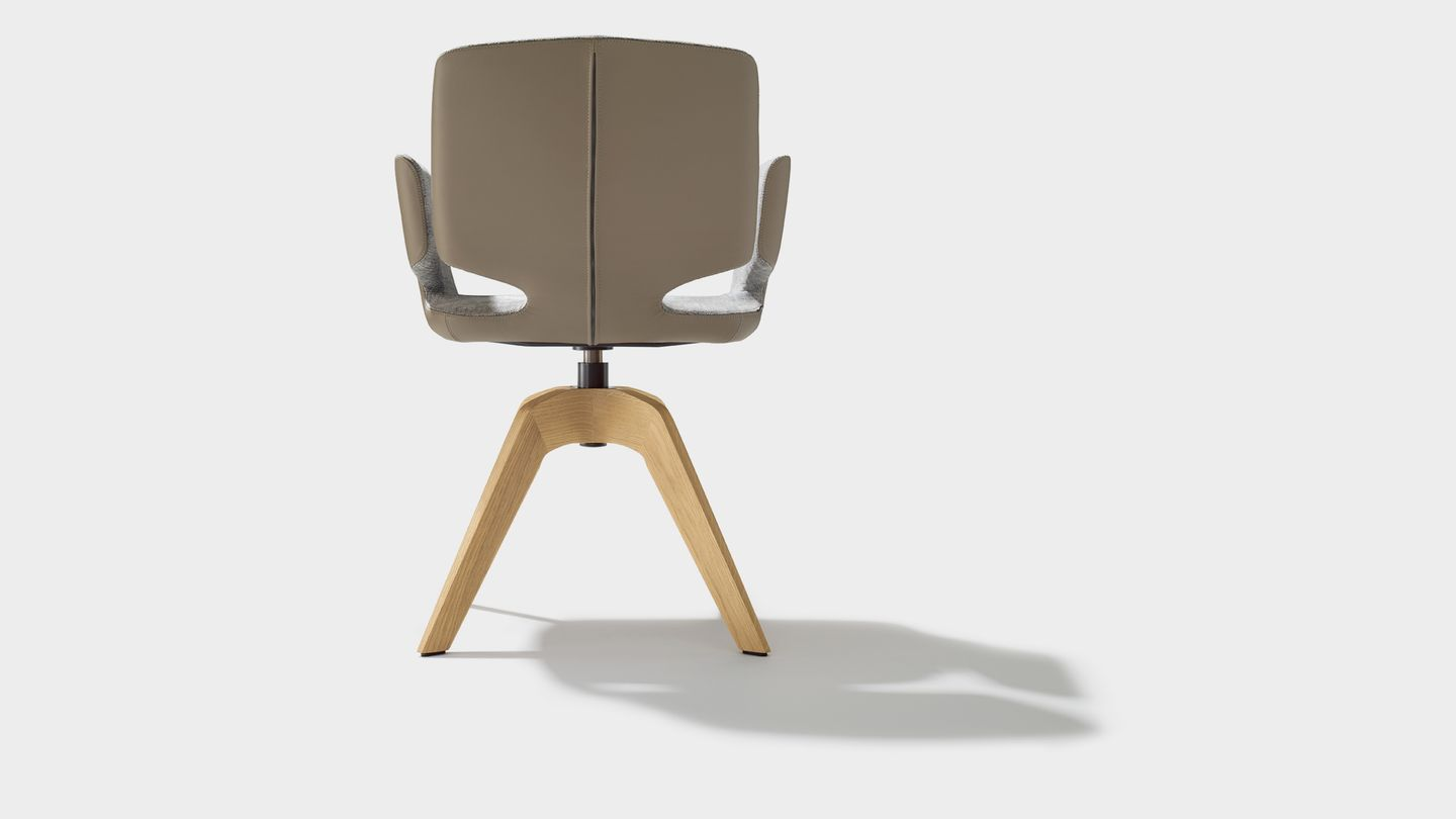 aye swivel chair in maple fabric with armrests back view