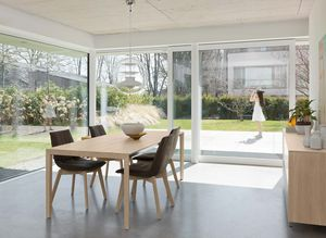 tak design dining table extendable with wooden legs