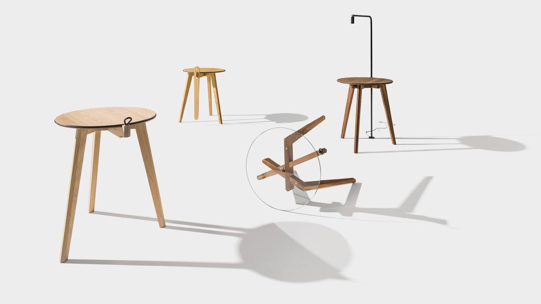 table d'appoint hi! avec plateau de table en bois naturel ou en verre