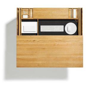 Schreibtisch cubus Sekretär mit Einfräsungen für Schreibutensilien