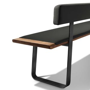 nox dining room bench with metal slides in black leather
