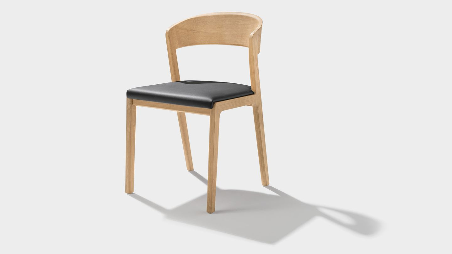 mylon chair with upholstered seat in leather