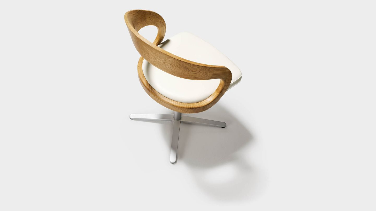 girado swivel chair with star base in white leather