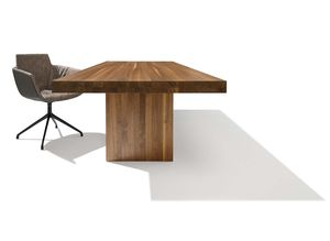 tema table with solid wood panel base in walnut