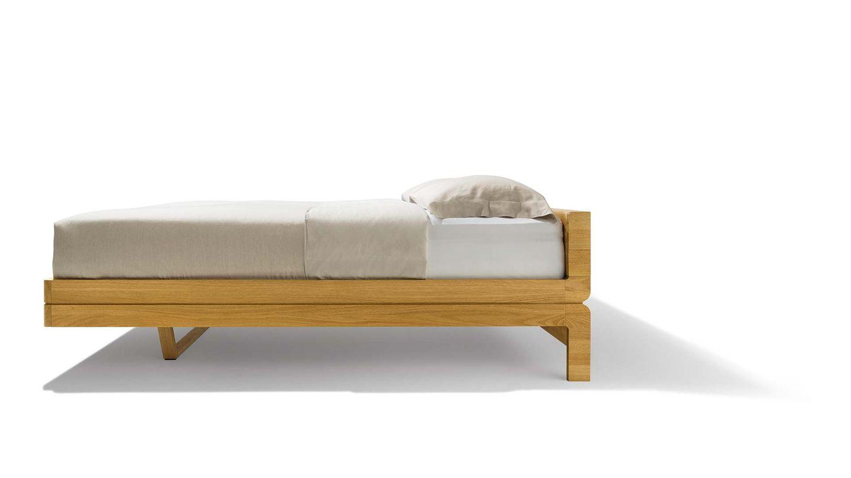 Lit en bois naturel float, modèle de base, vue de côté