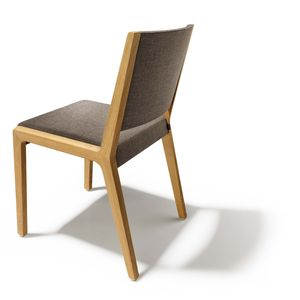 Chaise eviva en bois massif avec revêtement en tissu
