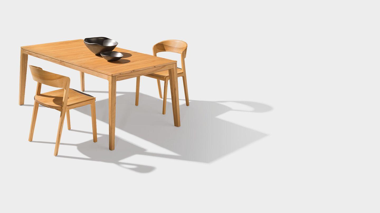 Esstisch mylon mit Stühlen aus Massivholz