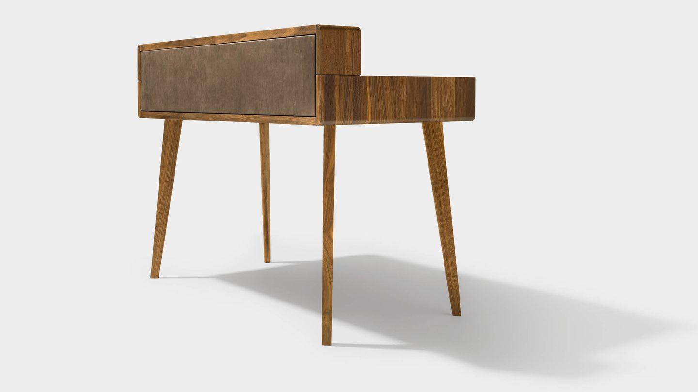 Design Schreibtisch sol aus Holz in Nussbaum von hinten