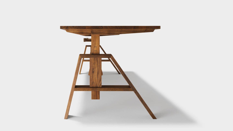 Bureau atelier ajustable en hauteur en bois massif