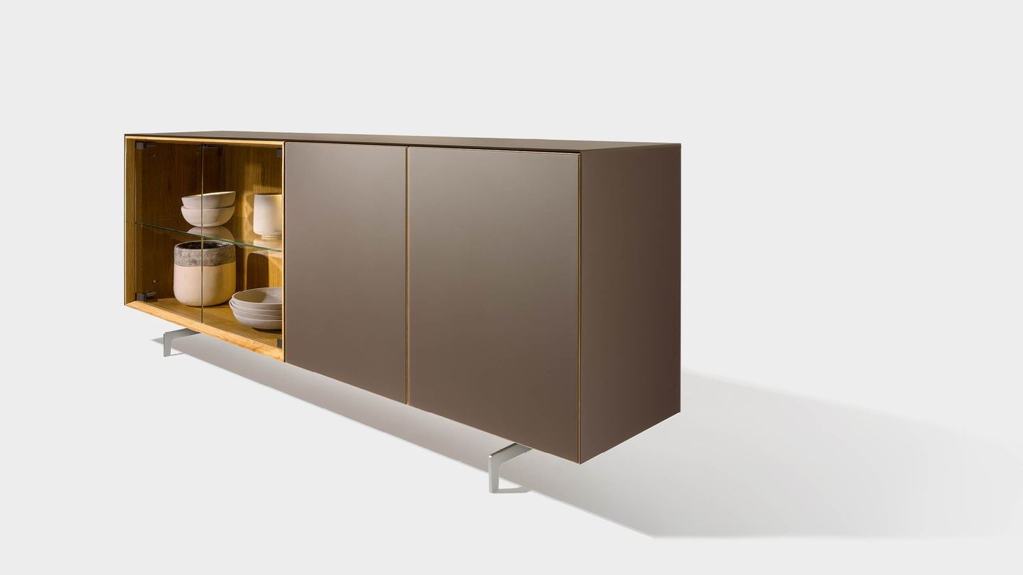 cubus pure sideboard with coloured glass and slides