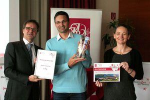 "Markus Urwanisch receiving the ""Master Craftsman of the Year 2016"" certificate"