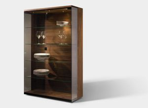 nox glass cabinet made of solid wood with palladium glass
