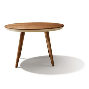 flaye round wooden table with leather frame